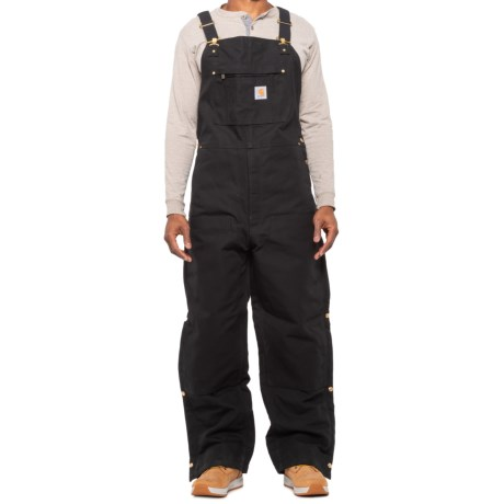 104393 Quilt-Lined Bib Overalls - Insulated, Factory Seconds (For Men) - BLACK (L ) thumbnail