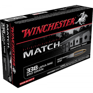 Winchester Ammunition Match 250 gr Sierra MatchKing Boat Tail Hollow Point .338 Lapua Mag Ammo, 20/box - S338LM thumbnail