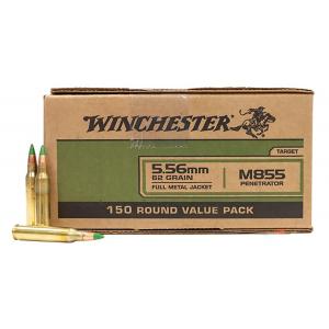 Winchester M855 62 gr Green Tip FMJ 5.56x45mm Ammunition 150 Rounds - WM855150 thumbnail