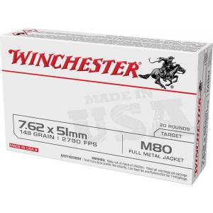 Winchester USA Lake City M80 Rifle Ammunition 7.62x51mm 149gr FMJ 2790 fps 20/ct thumbnail
