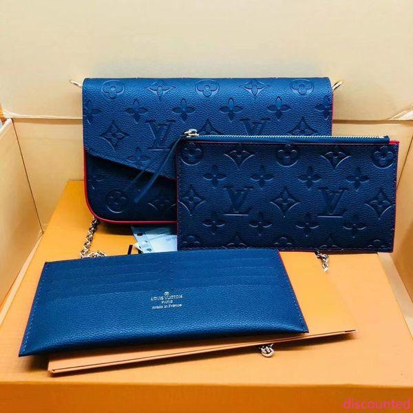 #1180 genuine leather pochette felicie 3pcs l brand v presbyopic women wallet fashion chain shoulder bag pochette mobile card holder purse thumbnail