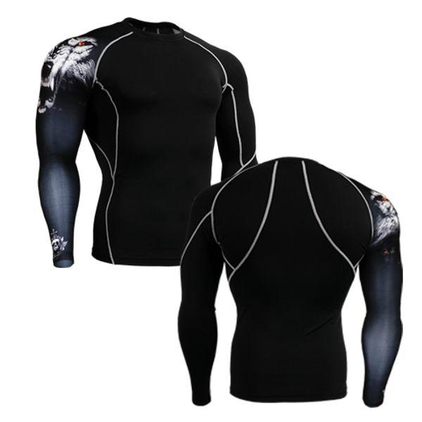 2020 brand tiger t-shirt mens jogging tees t shirt breathable coolmax long-sleeved tight spring running base layer thumbnail
