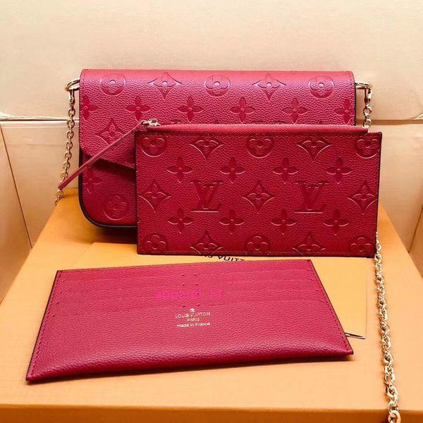 #6874 genuine leather pochette felicie 3pcs l brand v presbyopic women wallet fashion chain shoulder bag pochette mobile card holder purse thumbnail