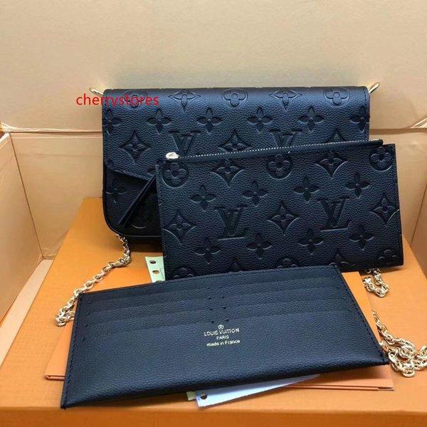 #65455 genuine leather pochette felicie 3pcs l brand v presbyopic women wallet fashion chain shoulder bag pochette mobile card holder purse thumbnail
