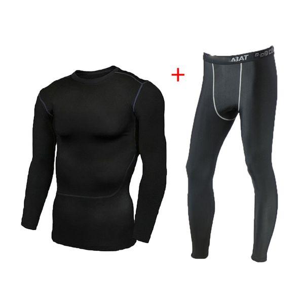 2 pieces sets 3xl man & pants breathable skinny running fitness long sweatpants shirts blouse men jogging base layer tights thumbnail