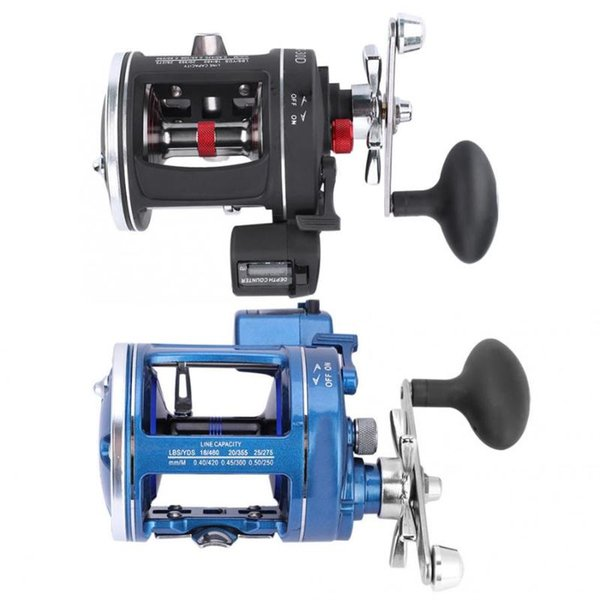 12bb 3:8:1 fish wheel fishing reel with line counter aluminum alloy fishing trolling reel left right handed tackle thumbnail