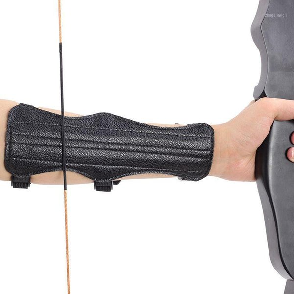 1pcs leather finger arm guard archery protective gear sleeve sports accessoriesve1 thumbnail