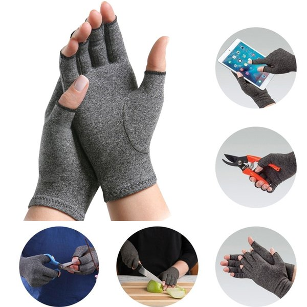 1pair compression arthritis for women men open fingers pain relief pressure gloves thin breathable cycling fitness mitten thumbnail