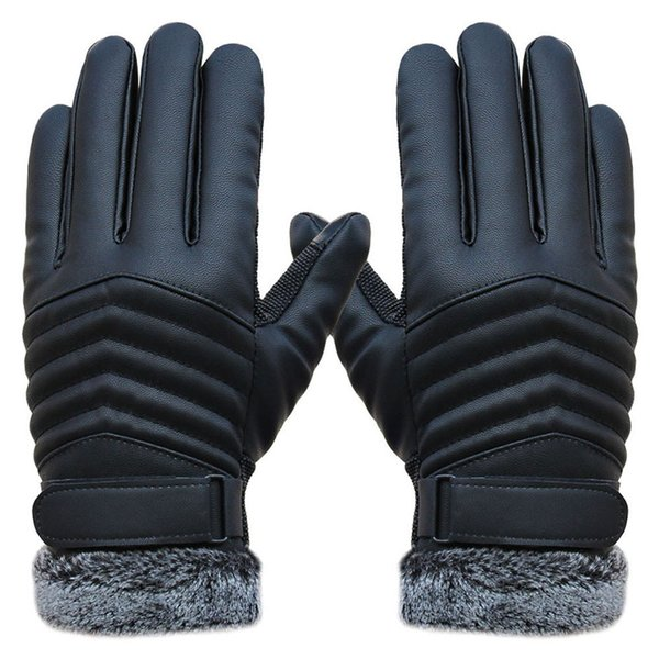2019 men's windproof leather winter mittens anti slip screens thermal glove hand warmer gloves men gants homme guantes thumbnail