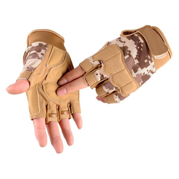 army tactical half finger bicycle glove camouflage men women outdoor sports climbing fitness gloves special forces s64 thumbnail
