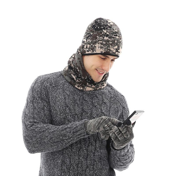 autumn and winter 2020 warm suit, men's and women's camouflage knitted plush hat, scarf glove three piece set thumbnail
