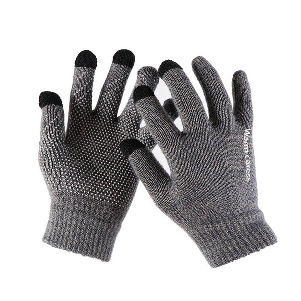 1pair thicken knitted for phone screen male winter autumn warm wool cashmere solid men mitten business gloves thumbnail