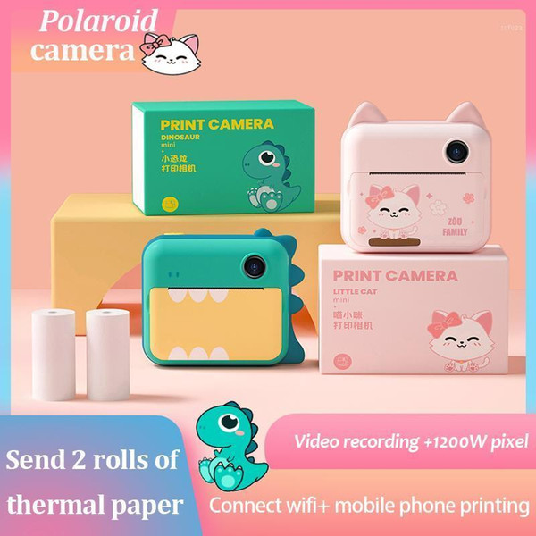 1080p hd children camera instant print camera 12 million pixels for kids with thermal p paper toys1 thumbnail