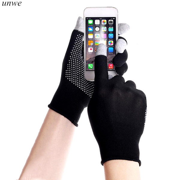 1 pairs touch screen non-slip gel male cotton mitten solid business men driving gloves for four seasons thumbnail