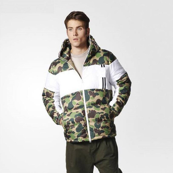 19fw stripes letters printed down jacket men winter camouflage down coat outdoor wear zipper parkas streetwear hooded clothes s-2xl thumbnail