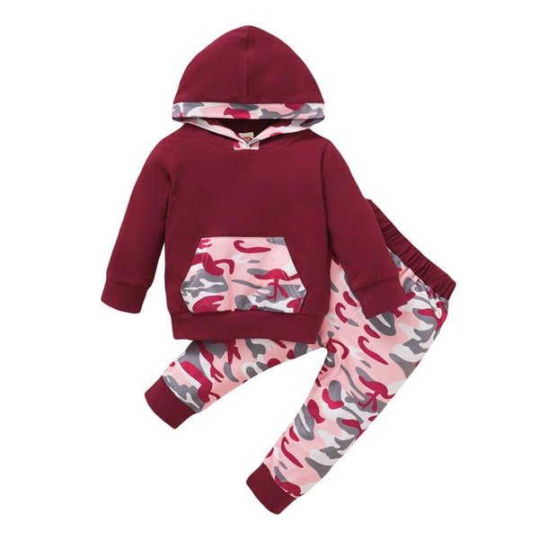 3m-18m baby boy patchwork outfits camouflage infant baby boys girls packet outfits print hoodie +pants sets thumbnail