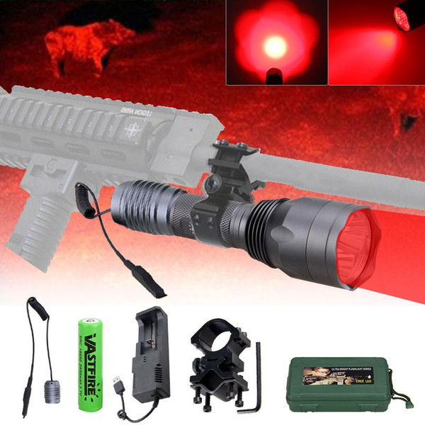 10000lm tactical hunting 3*xpe q5 red torch lanterna+rifle scope laser dot sight/rail mount+switch+18650+charger+box thumbnail