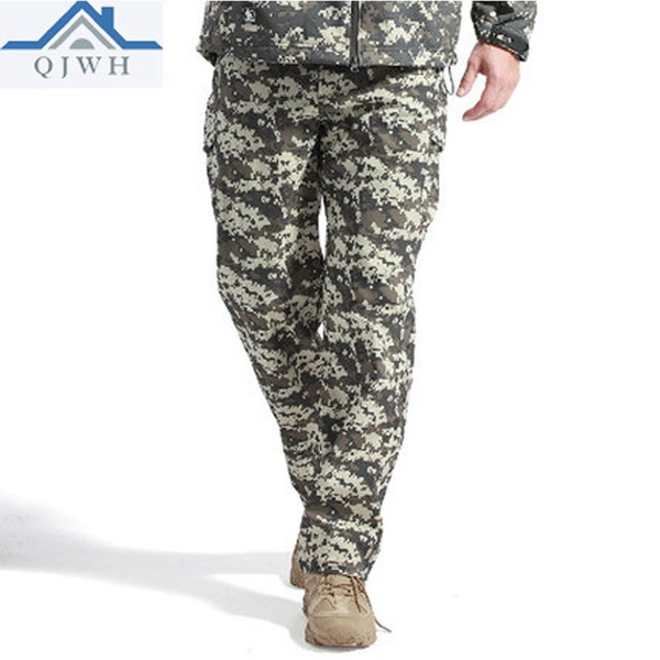 2017 winter sharkskin thicken soft shell waterproof thelmal fleece camouflage army tactical military cargo militar pants men thumbnail