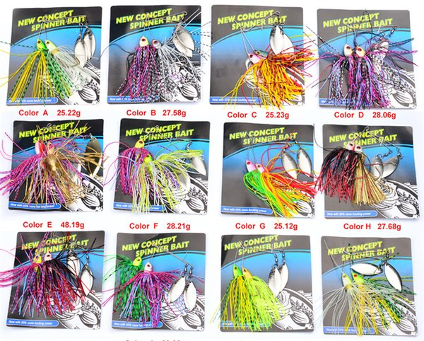 2pc/lot new metal spinner fishing lures 20 colors spoons baits jigs buzzbait bass spinnerbaits must hook thumbnail