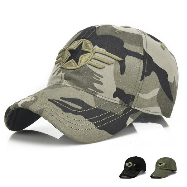 2017 fashion men cap camouflage five pointed star embroidery snapback baseball cap hip hop caps for men women thumbnail