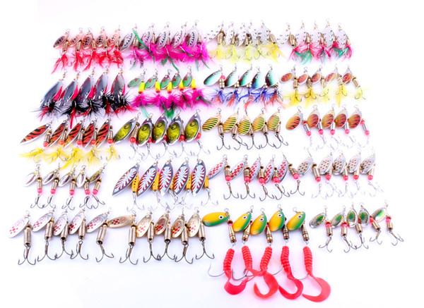 2018 new trolling fishing metal spinnerbaits freshwater crankbaits fishbait 100pc mix styles alloy spoons spinner fish lure thumbnail