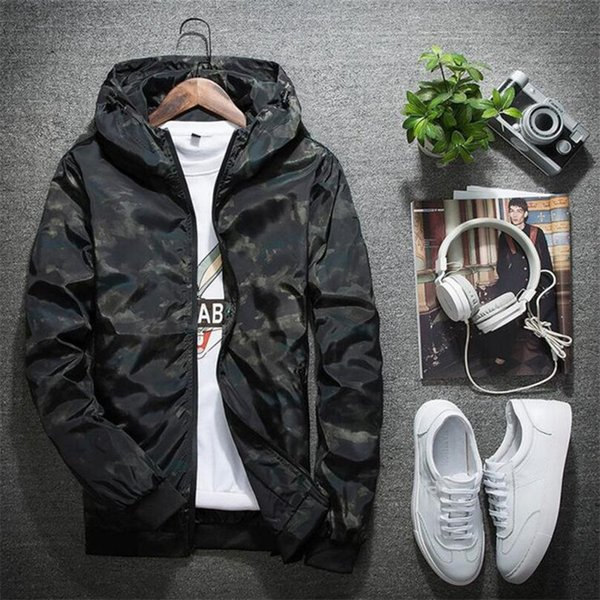 2018 spring autumn mens casual camouflage hoodie jacket men waterproof clothes men's windbreaker coat male outwear plus size 5xl thumbnail