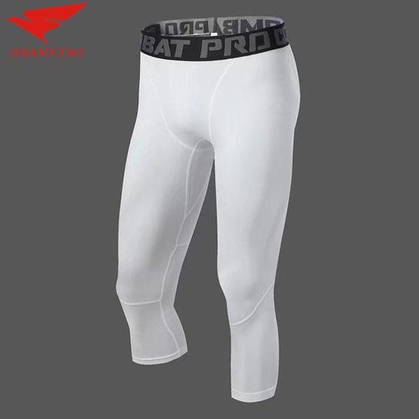 2020 men bodybuilding jogging leggings compression base layer pants workout sports soccer fitness gym 3/4yoga pant thumbnail