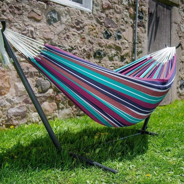 1pc durable hammock outdoor backpacking travel survival hunting sleeping bed striped chair hammock portable without stand thumbnail