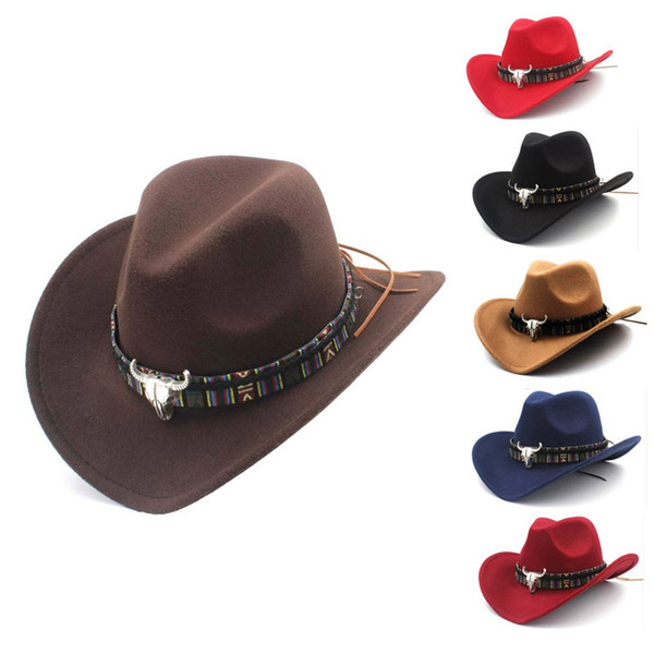2019 ethnic style western cowboy hat men&women's wool hat hunting caps western cowboy hat new arrival thumbnail