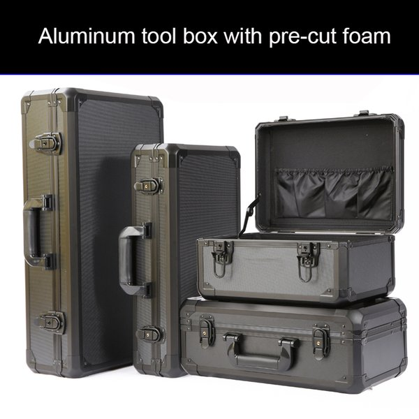 aluminum box toolbox fishing bow and arrow storage box pulley portable pull rod storage aluminum with pre-cut foam thumbnail
