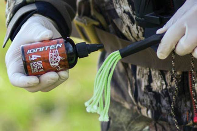 When creating a scent drag line, liberally douse your drag with scent so it disperses onto the ground as you walk toward your hunting location. Photo courtesy of Howard Communications